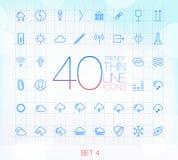 Uppsättning 4 för 40 moderiktig tunn symboler Fotografering för Bildbyråer