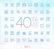 Uppsättning 5 för 40 moderiktig tunn symboler Royaltyfri Bild