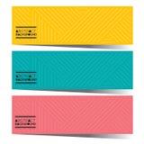 Uppsättning för modern design av tre färgrika grafiska horisontalbaner vektor illustrationer