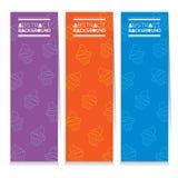 Uppsättning för modern design av tre färgrika muffinlodlinjebaner Royaltyfria Foton