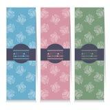 Uppsättning för modern design av tre vertikala baner Rose Graphic stock illustrationer