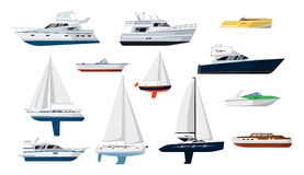 Uppsättning för motoriskt fartyg och segelbåt vektor illustrationer