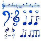 Uppsättning för musikaliska anmärkningar för vattenfärg blå arkivbilder