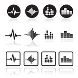 Uppsättning för musiksoundwavesymboler Pulssymbolsuppsättning Royaltyfri Fotografi