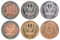 Uppsättning för mynt för Rwanda franc Arkivbilder
