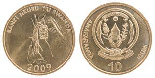 Uppsättning för mynt för Rwanda franc Arkivfoton