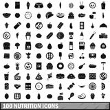 uppsättning för 100 näringsymboler, enkel stil Royaltyfria Bilder