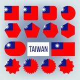 Uppsättning för nationsflaggor för Taiwan olik formvektor vektor illustrationer