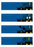 Uppsättning för nattmotivbaner. stock illustrationer