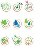 Uppsättning för naturvirvelsymbol Arkivfoton