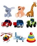 Uppsättning för nio leksaker Royaltyfri Bild