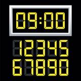 Uppsättning för nummer för Digital klocka också vektor för coreldrawillustration royaltyfri illustrationer