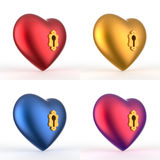 Uppsättning 2 för nyckelhålhjärta 3D Arkivbild