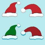 Uppsättning för nytt år för Santa Claus röd hattvektor Vektor Illustrationer