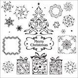 Uppsättning för nytt år i vit- och svartsignaler royaltyfri illustrationer