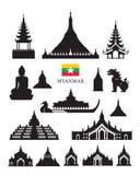Uppsättning för objekt för byggnad för Myanmar gränsmärkearkitektur Arkivfoton