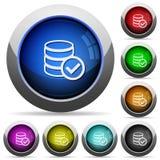 Uppsättning för ok knapp för databas Arkivfoto