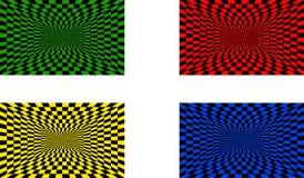 Uppsättning för optiska illusioner av fyra vektor illustrationer