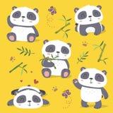 uppsättning för panda för tecknad filmstil gullig stock illustrationer
