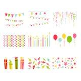 Uppsättning för parti för födelsedag för urklippsbokdesignbeståndsdelar Arkivbild