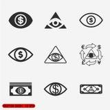 Uppsättning för pengarögonsymboler Fotografering för Bildbyråer