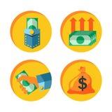 Uppsättning för pengarsymbolsvektor vektor illustrationer