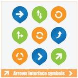 Uppsättning för pilmanöverenhetssymboler Arkivbilder