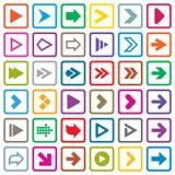 Uppsättning för pilteckensymbol. Internetknappar på vit Arkivfoto