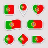 Uppsättning för Portugal flaggavektor Portugisiska nationsflaggaklistermärkear Isolerade symboler Traditionella färger Olikt geom vektor illustrationer