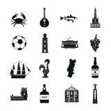 Uppsättning för Portugal loppsymboler, enkel stil stock illustrationer