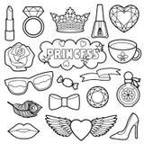 Uppsättning för prinsessa Fashion Patches Coloring Arkivfoto