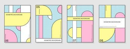 Uppsättning för räkningsmallar med moderiktiga geometriska modeller Arkivfoto
