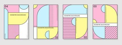 Uppsättning för räkningsmallar med moderiktiga geometriska modeller Arkivbilder