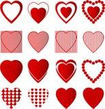 Uppsättning för röd färg för hjärta i vit bakgrund stock illustrationer
