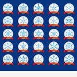 Uppsättning för röd flagga för snöflingor för vita emblem blå Royaltyfri Fotografi