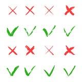 Uppsättning för Röda korset- och gräsplanfästingvektor Ja och inga symboler för websites och applikationer Högert och fel tecken  Royaltyfri Fotografi