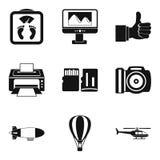 Uppsättning för radiopositioneringsymboler, enkel stil royaltyfri illustrationer
