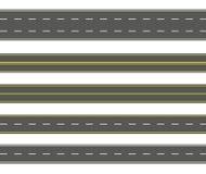 Uppsättning för rak väg Sömlös samling för asfaltvägar Huvudväg- eller körbanabakgrund royaltyfri bild