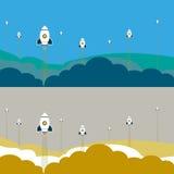 Uppsättning för raketskeppbakgrund Arkivbild