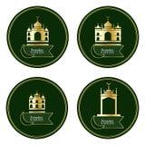 Uppsättning för Ramandan Kareem Islam guld- byggnadscirkel royaltyfri illustrationer