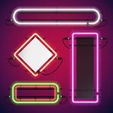 Uppsättning för ramar för rektangel för neonljus stock illustrationer