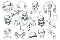 Uppsättning för rapmusik Rappareskalle på vit bakgrund Bokstäver med en mikrofon royaltyfri illustrationer