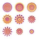 Uppsättning för Ray blomma royaltyfri illustrationer