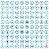 uppsättning för 100 regionundersökningssymboler, plan stil vektor illustrationer