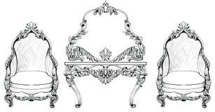 Uppsättning för Rich Baroque Rococo fåtölj- och dressingtabell Sniden fransk lyx smyckar möblemang Vektor Victoria Arkivbild