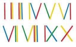 Uppsättning för romerska tal som göras från den matematiska träpinnen Arkivbild