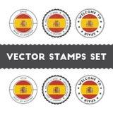 Uppsättning för rubber stämplar för spanjorflagga stock illustrationer