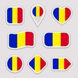 Uppsättning för Rumänien flaggaklistermärkear Rumänska emblem för nationella symboler Isolerade geometriska symboler Vektorrepres stock illustrationer
