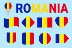 Uppsättning för Rumänien flaggavektor Olikt geometriskt formar Plan stil Rumänsk flaggasamling För sportar nationellt, lopp royaltyfri illustrationer