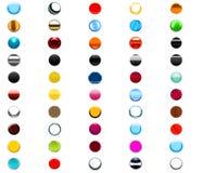 uppsättning för 50 rund rengöringsdukknappar stock illustrationer
